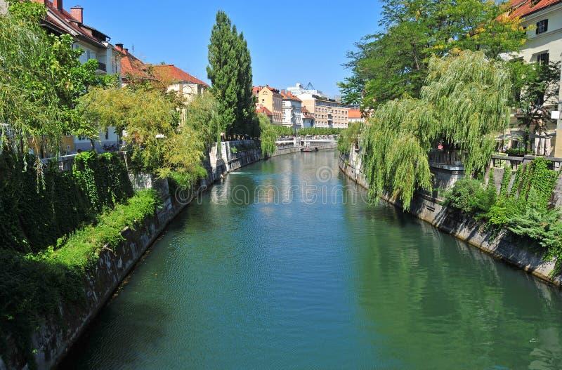 Ljubljanica河和老市中心,卢布尔雅那,斯洛文尼亚 免版税库存图片