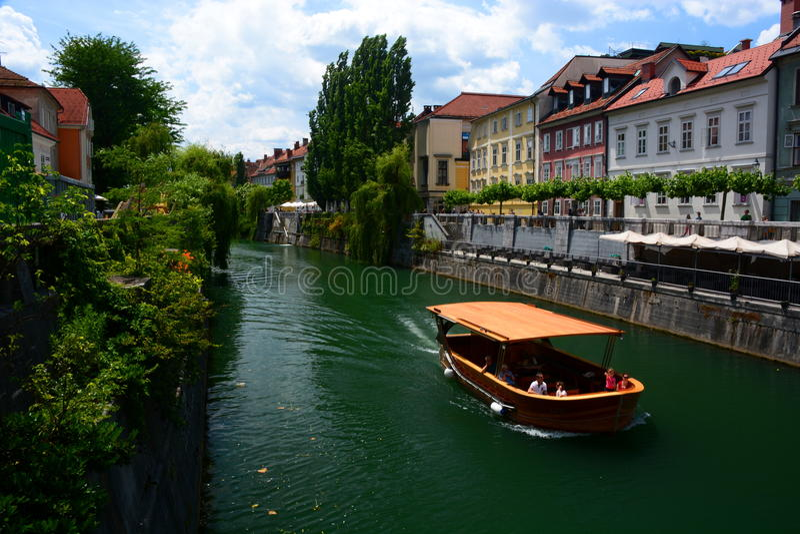 Ljubljanica河 卢布尔雅那 斯洛文尼亚 库存照片