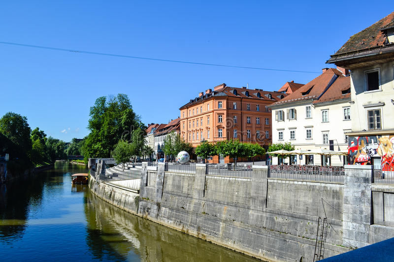 Ljubljanica River in Ljubljana, Slovenia. Ljubljanica River in Ljubljana, the capital of Slovenia. It is part of the old towns pedestrian zone and a major stock photography