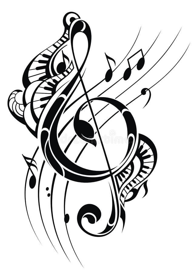 ljud för anmärkning för bakgrundsmusik royaltyfri illustrationer