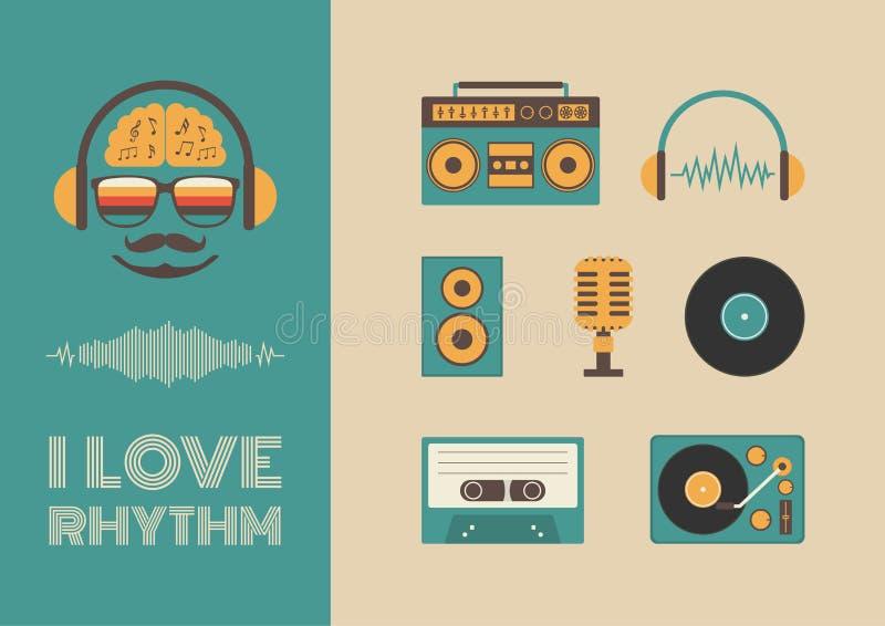 Ljud och rytm stock illustrationer