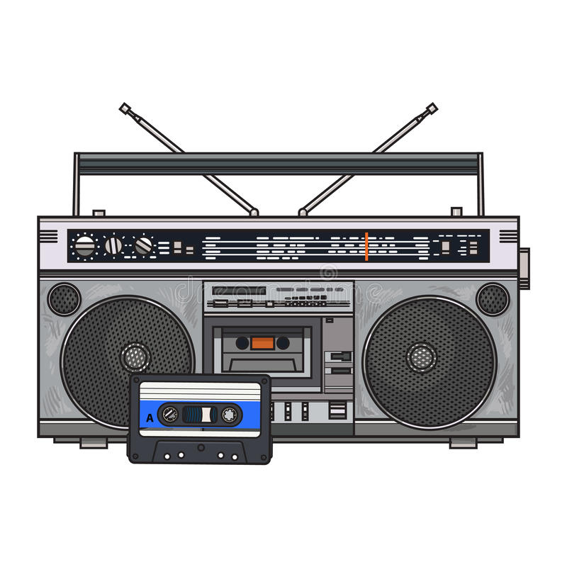 Ljudbandregistreringsapparat, gettobangask och ljudband från 90-tal vektor illustrationer