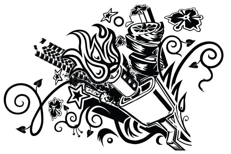 Ljuddämpareexplosiontatuering vektor illustrationer