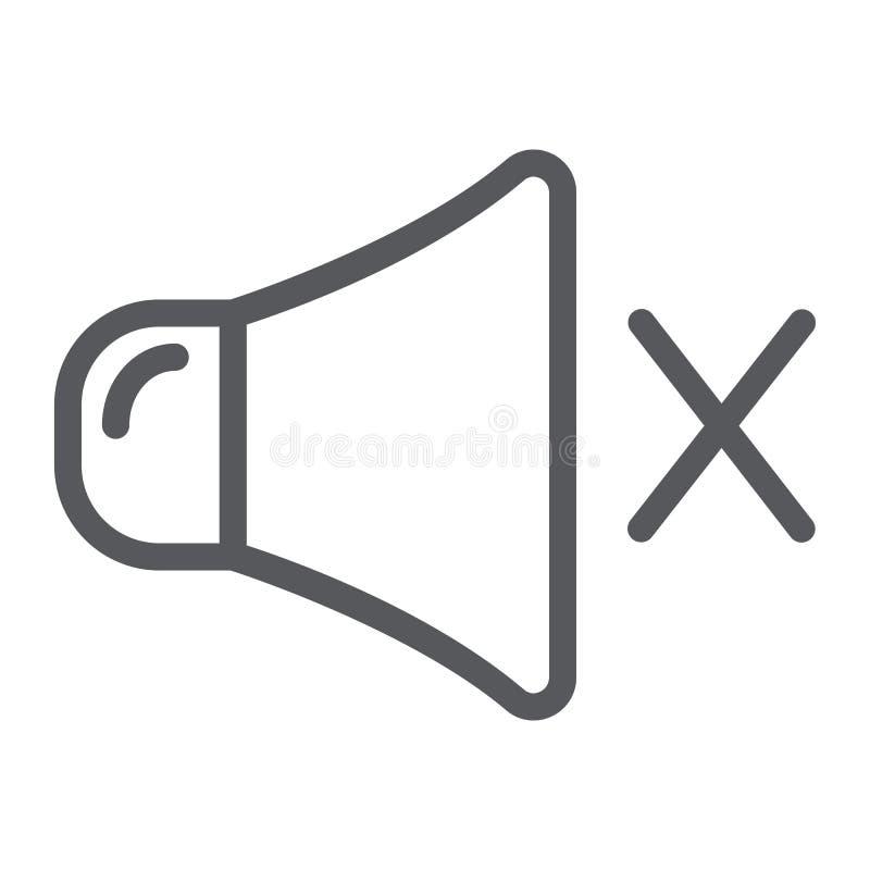 Ljudlös linje symbol, musik och högt, inget solitt tecken, vektordiagram, en linjär modell på en vit bakgrund stock illustrationer