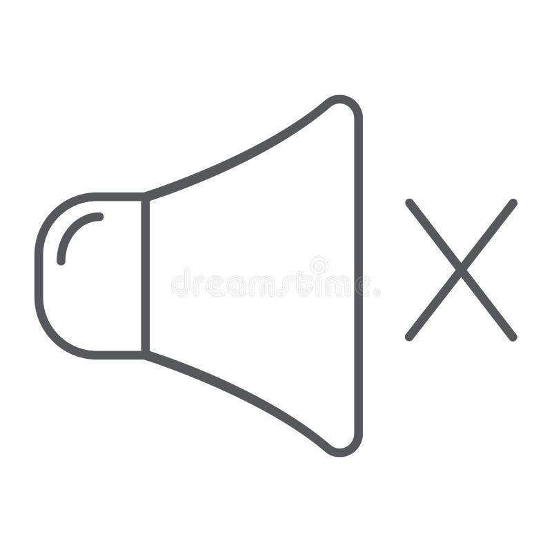 Ljudlös tunn linje symbol, musik och högt, inget solitt tecken, vektordiagram, en linjär modell på en vit bakgrund vektor illustrationer
