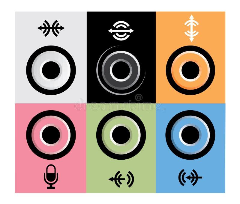 ljudsignal apparat input moderna efterbehandlingsportar stock illustrationer