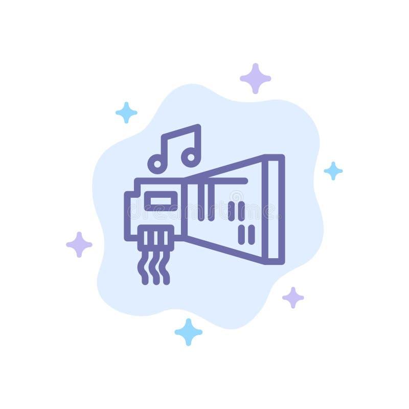 Ljudsignal Blaster, apparat, maskinvara, blå symbol för musik på abstrakt molnbakgrund stock illustrationer