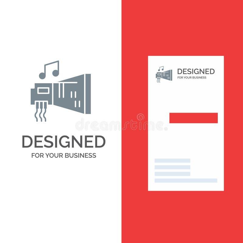 Ljudsignal, Blaster, apparat, maskinvara, musik Grey Logo Design och mall för affärskort royaltyfri illustrationer