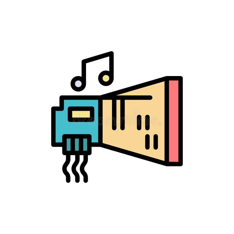 Ljudsignal Blaster, apparat, maskinvara, plan färgsymbol för musik Mall för vektorsymbolsbaner royaltyfri illustrationer