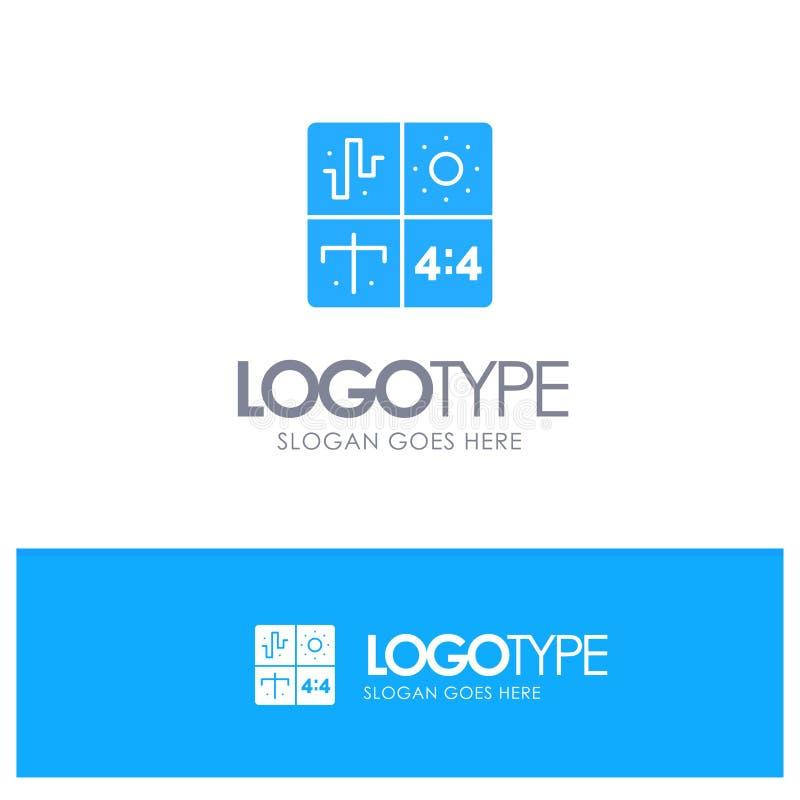 Ljudsignal design, utveckling, teknik, blå fast logo för process med stället för tagline royaltyfri illustrationer