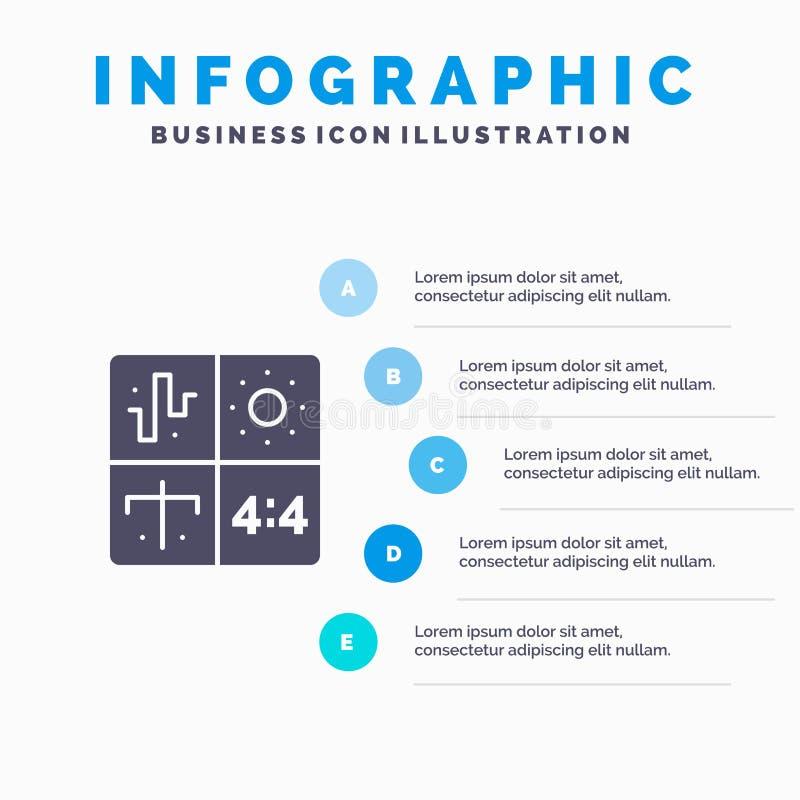 Ljudsignal design, utveckling, teknik, för symbolsInfographics 5 för process fast bakgrund för presentation moment vektor illustrationer