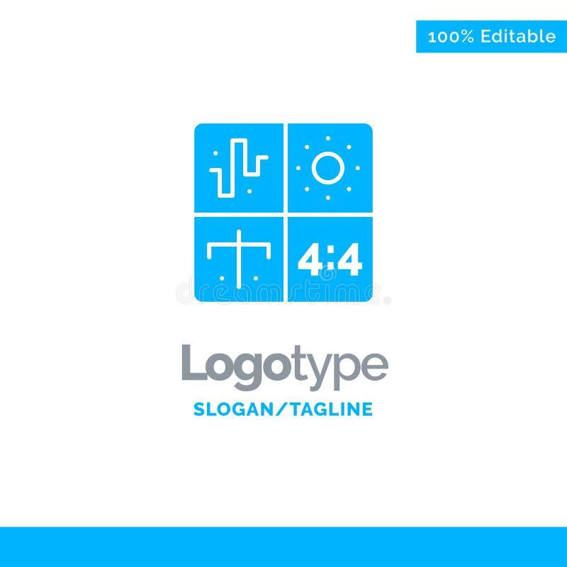 Ljudsignal design, utveckling, teknik, process blåa fasta Logo Template St?lle f?r Tagline royaltyfri illustrationer