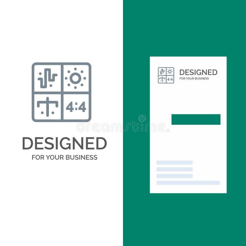 Ljudsignal, design, utveckling, teknik, process Grey Logo Design och mall för affärskort stock illustrationer