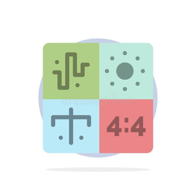 Ljudsignal design, utveckling, teknik, symbol för färg för bakgrund för processabstrakt begreppcirkel plan vektor illustrationer