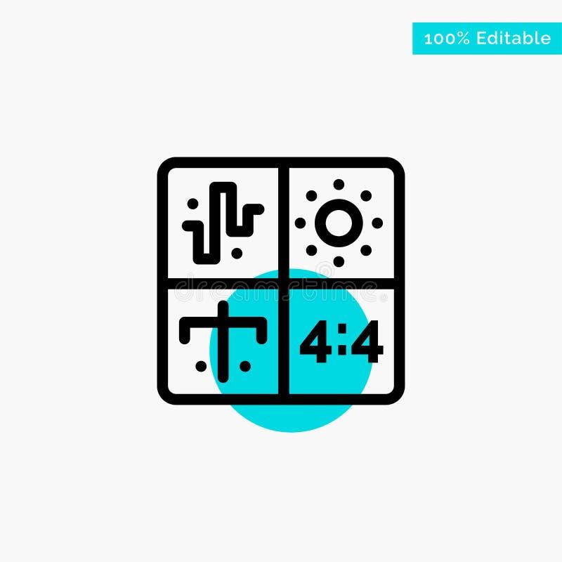 Ljudsignal design, utveckling, teknik, symbol för vektor för punkt för cirkel för processturkosviktig royaltyfri illustrationer