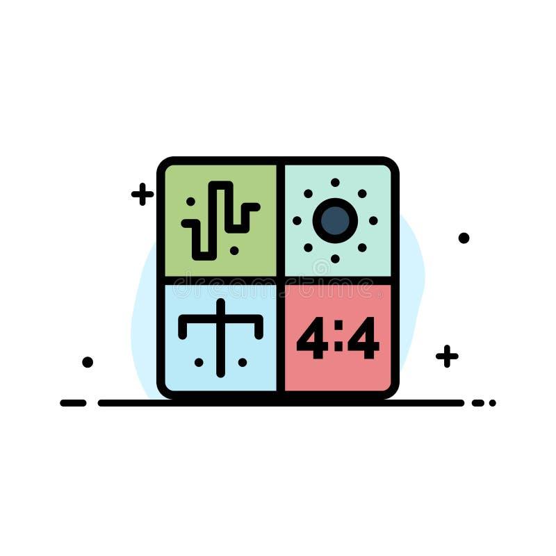 Ljudsignal designen, utveckling, teknik, plan linje för processaffär fyllde mallen för symbolsvektorbanret stock illustrationer