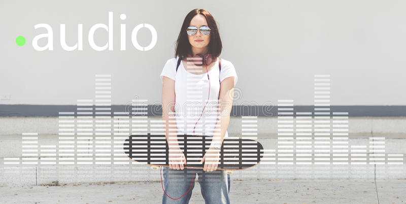 Ljudsignal Digital utjämnaremusik trimmar diagrambegrepp för solid våg royaltyfri fotografi
