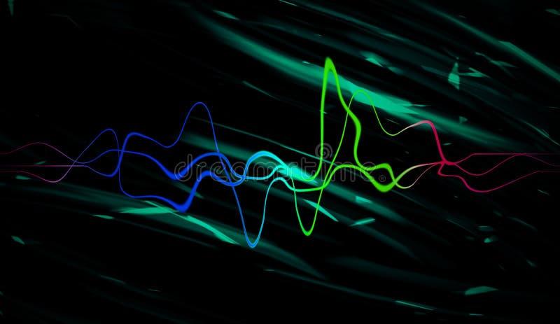 Ljudsignal digital utjämnareteknologi, pulsmusikal Abstrakta färgrika solida vågor för partiet, discjockey, bar, klubbor arkivfoton