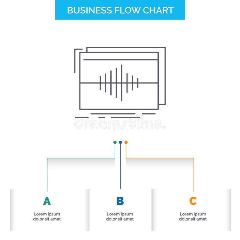 Ljudsignal frekvens, hertz, följd, design för diagram för vågaffärsflöde med 3 moment Linje symbol f?r presentationsbakgrundsmall vektor illustrationer