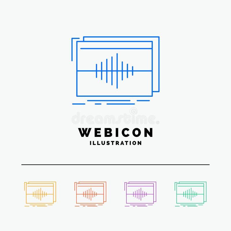 Ljudsignal frekvens, hertz, följd, färglinje rengöringsduksymbolsmall som för våg 5 isoleras på vit ocks? vektor f?r coreldrawill vektor illustrationer
