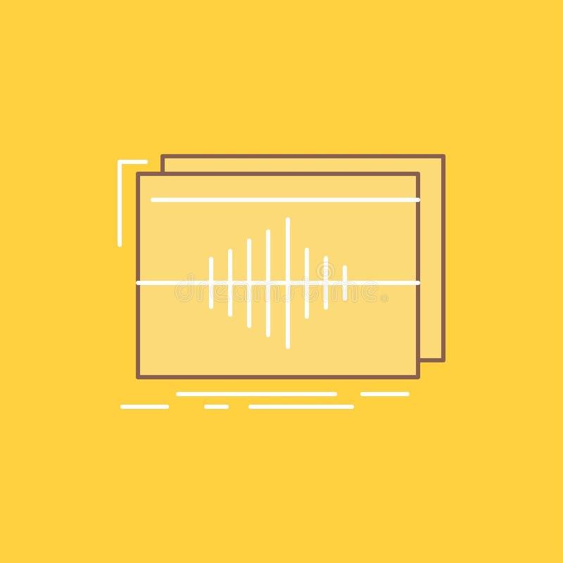 Ljudsignal frekvens, hertz, följden, plan linje för våg fyllde symbolen H?rlig logoknapp ?ver gul bakgrund f?r UI och UX, website vektor illustrationer