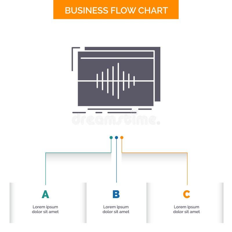 Ljudsignal frekvens, hertz, f?ljd, design f?r diagram f?r v?gaff?rsfl?de med 3 moment Sk?rasymbol f?r presentationsbakgrundsmall vektor illustrationer