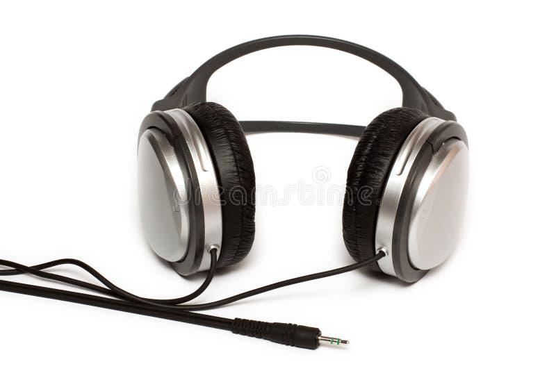 ljudsignal hörlurar med mikrofonstereo royaltyfria bilder