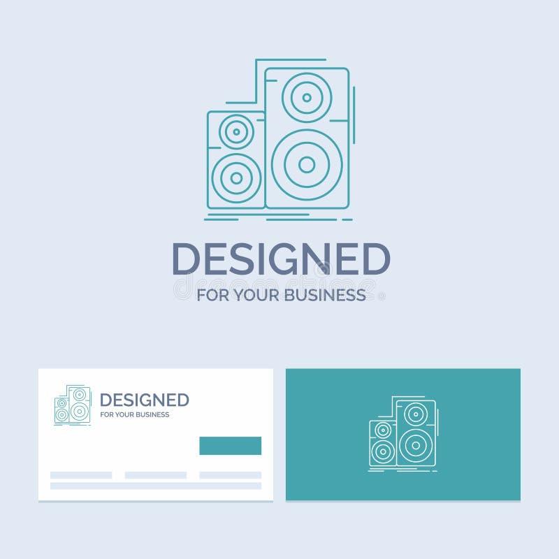 Ljudsignal hifi, bildskärm, högtalare, studioaffär Logo Line Icon Symbol för din affär Turkosaff?rskort med m?rkeslogo royaltyfri illustrationer