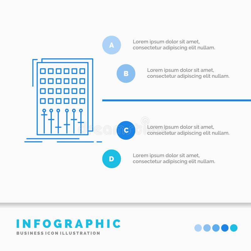 Ljudsignal, kontroll, blandning, blandare, studioInfographics mall f?r Website och presentation Linje infographic stilvektor f?r  stock illustrationer