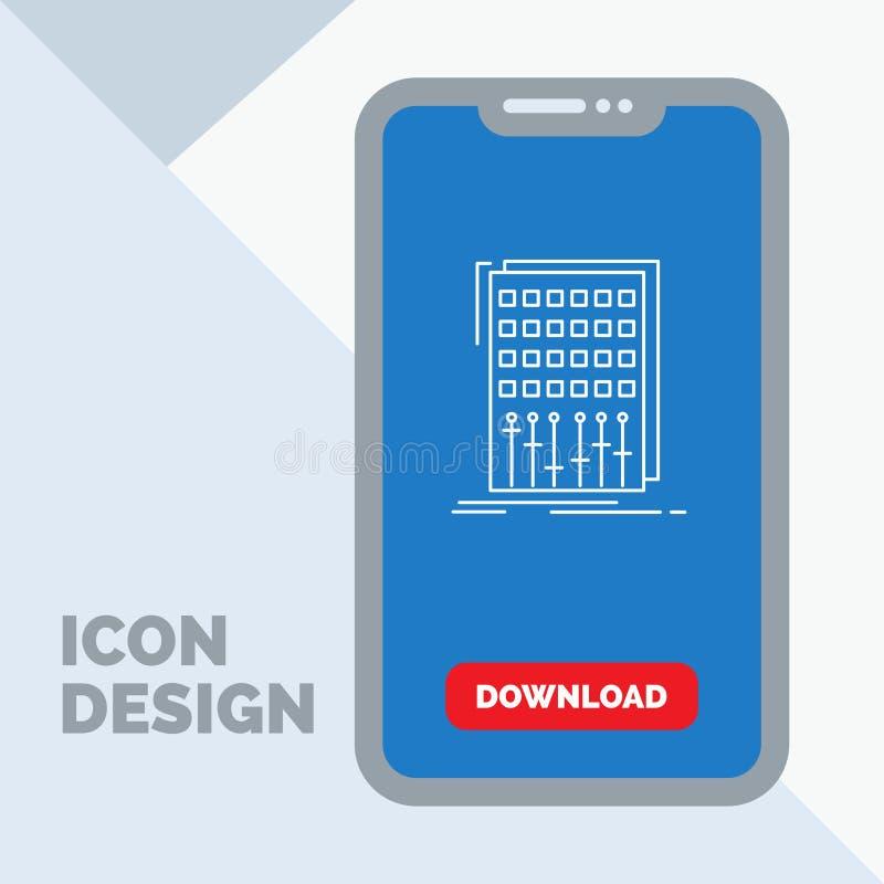 Ljudsignal kontroll, blandning, blandare, studiolinje symbol i mobilen för nedladdningsida royaltyfri illustrationer
