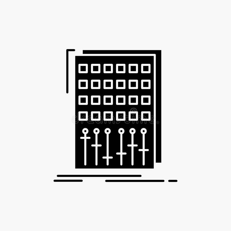 Ljudsignal kontroll, blandning, blandare, studioskårasymbol Vektor isolerad illustration vektor illustrationer