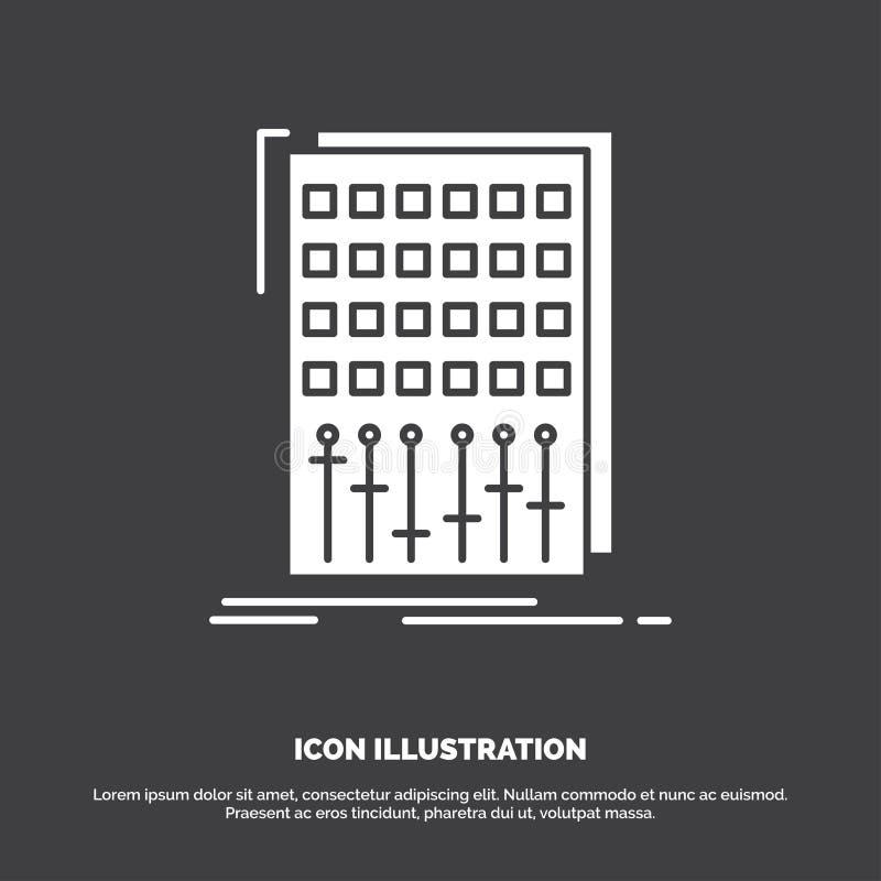 Ljudsignal kontroll, blandning, blandare, studiosymbol r stock illustrationer