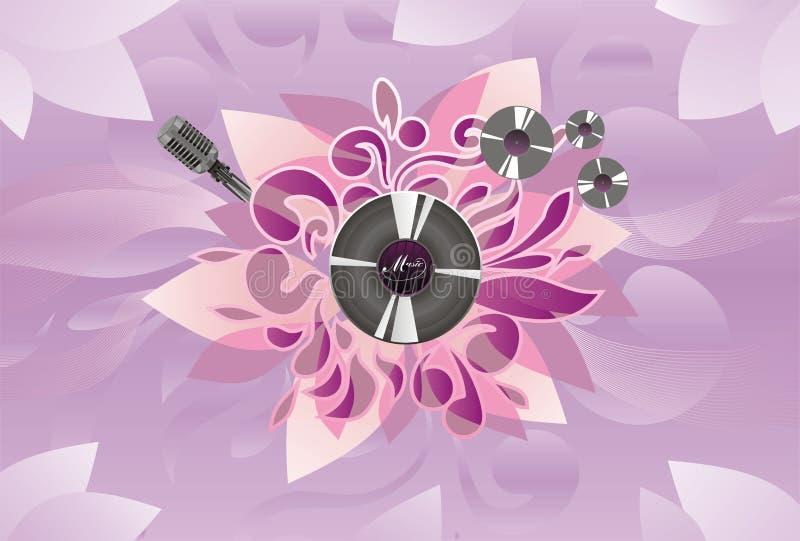 ljudsignal mikrofonplatta för abstrakt konst royaltyfri illustrationer