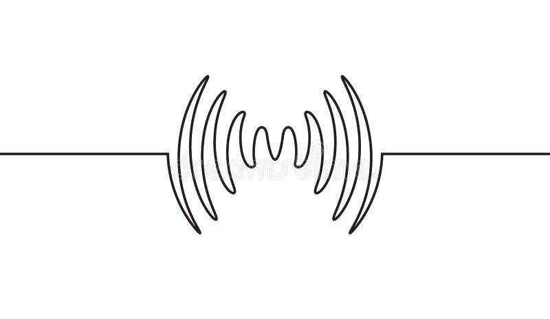 Ljudsignal musikwaveform för solid våg För designsignal för puls ljudsignal rekord- linje royaltyfri illustrationer