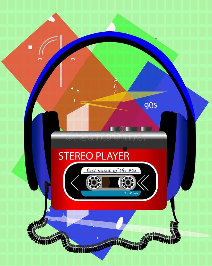 Ljudsignal spelare för kassett med stor hörlurar royaltyfria bilder