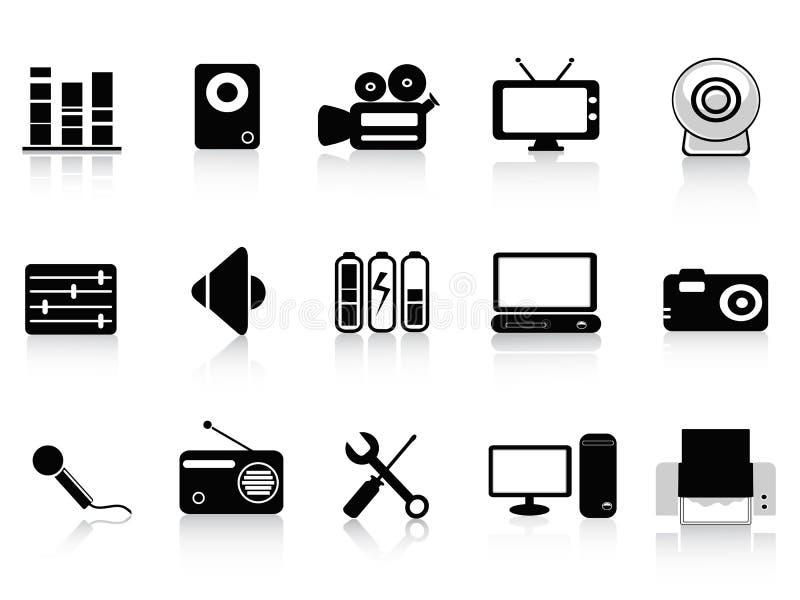 ljudsignal svart symbolsfotovideo stock illustrationer
