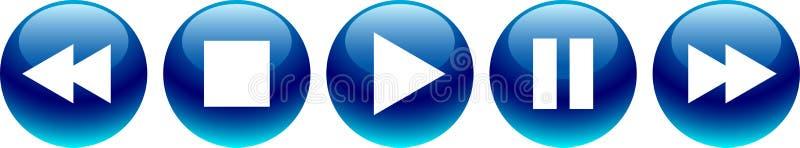 Ljudsignala blått för knappar för videospelare royaltyfri illustrationer