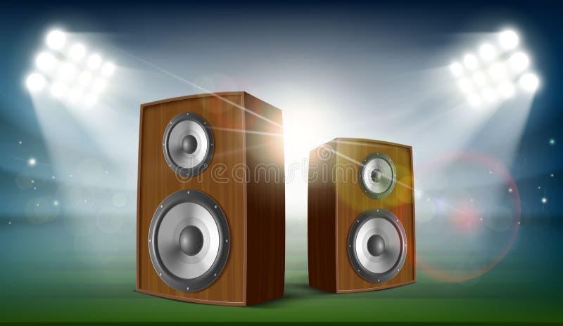 Ljudsignala högtalare i en stadion royaltyfri illustrationer