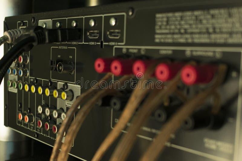 Ljudsignala kontaktdon på mottagaren av ljudsignalsystemet royaltyfri fotografi