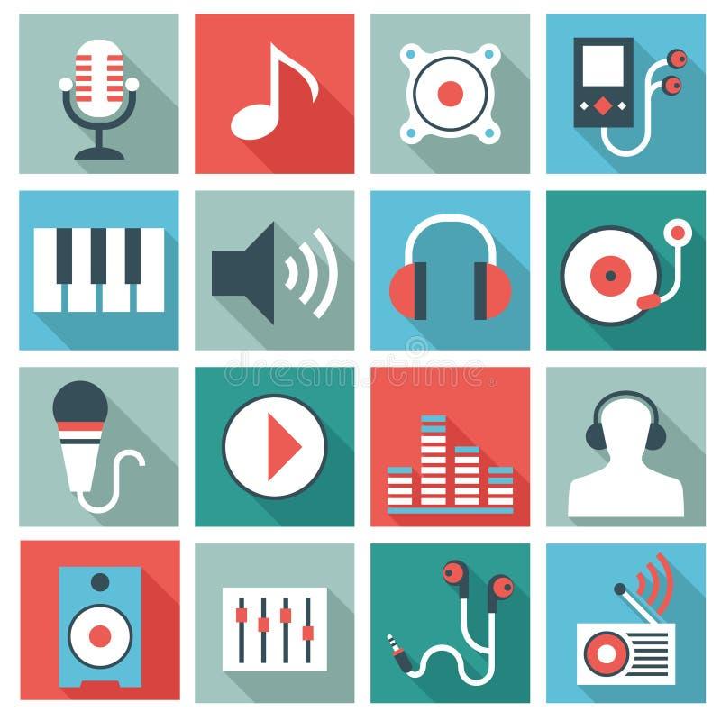 Ljudsignala symboler för videoutrustning royaltyfri illustrationer