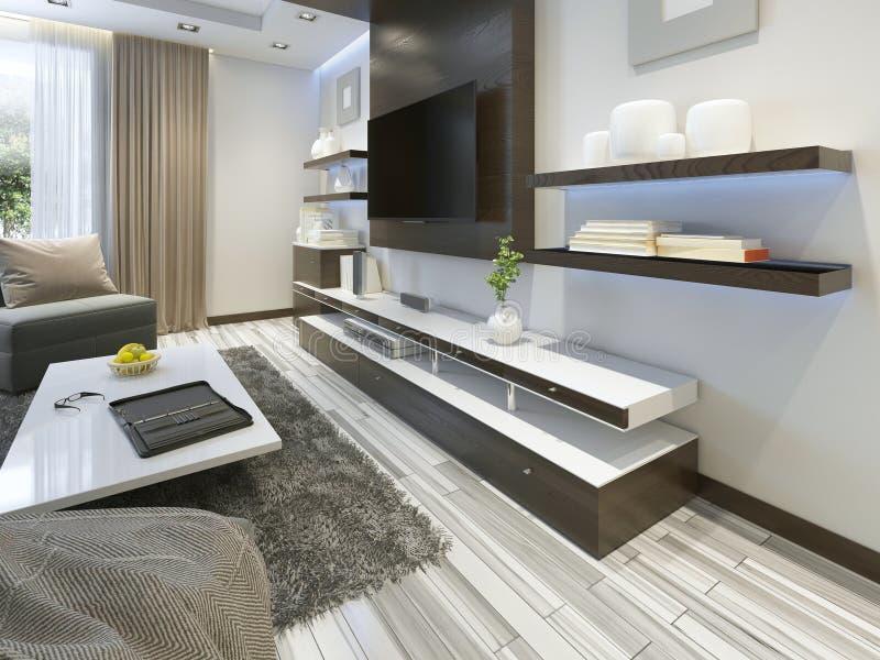 Ljudsignalsystem med TV och hyllor i vardagsrumsamtidan arkivfoto