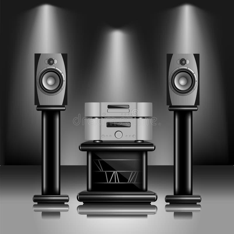 ljudsignalt högt sound system för fi royaltyfri illustrationer