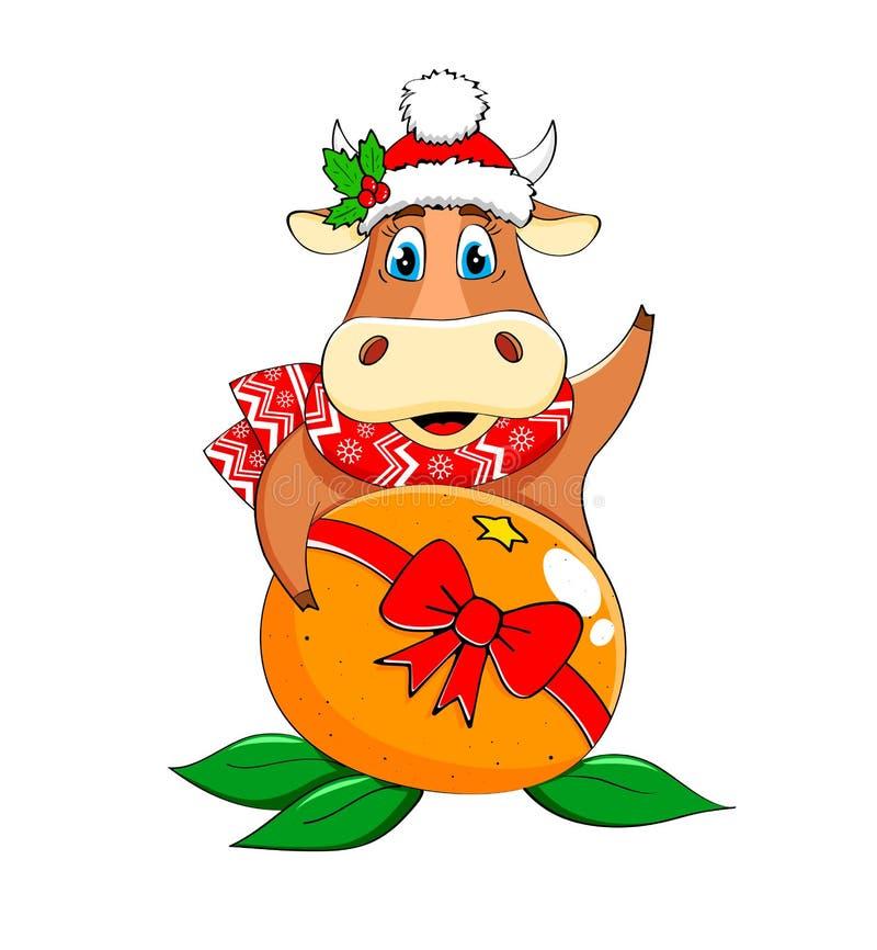 Ljuny Bull i en scarf och hatt med tangerin stock illustrationer