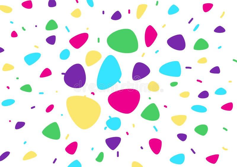 ljus abstrakt bakgrund vektor Ljus tecknad filmbakgrund konfettiar kulöra former för abstrakt begrepp Festlig gladlynt modell för stock illustrationer