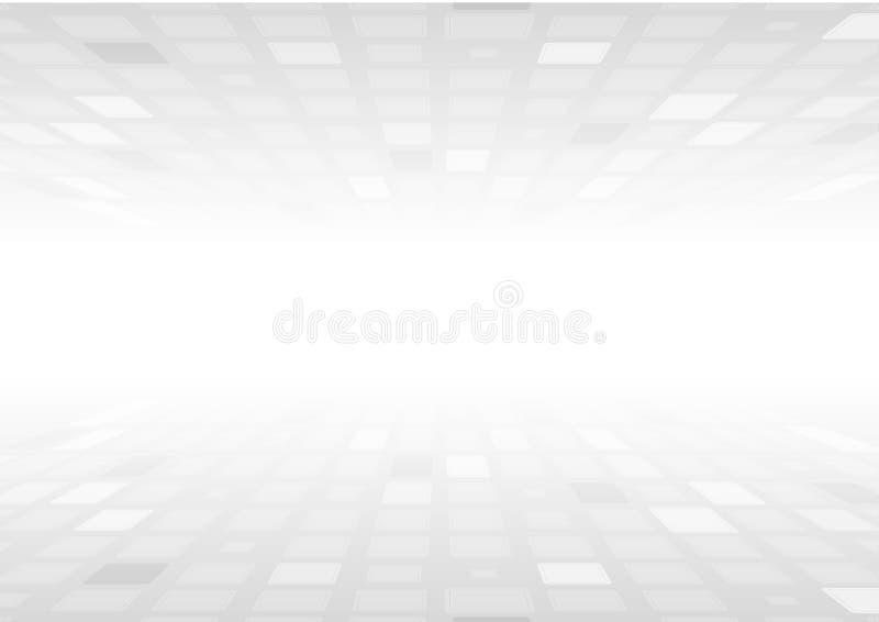 Ljus - abstrakt teknologibakgrund för gråa fyrkanter stock illustrationer