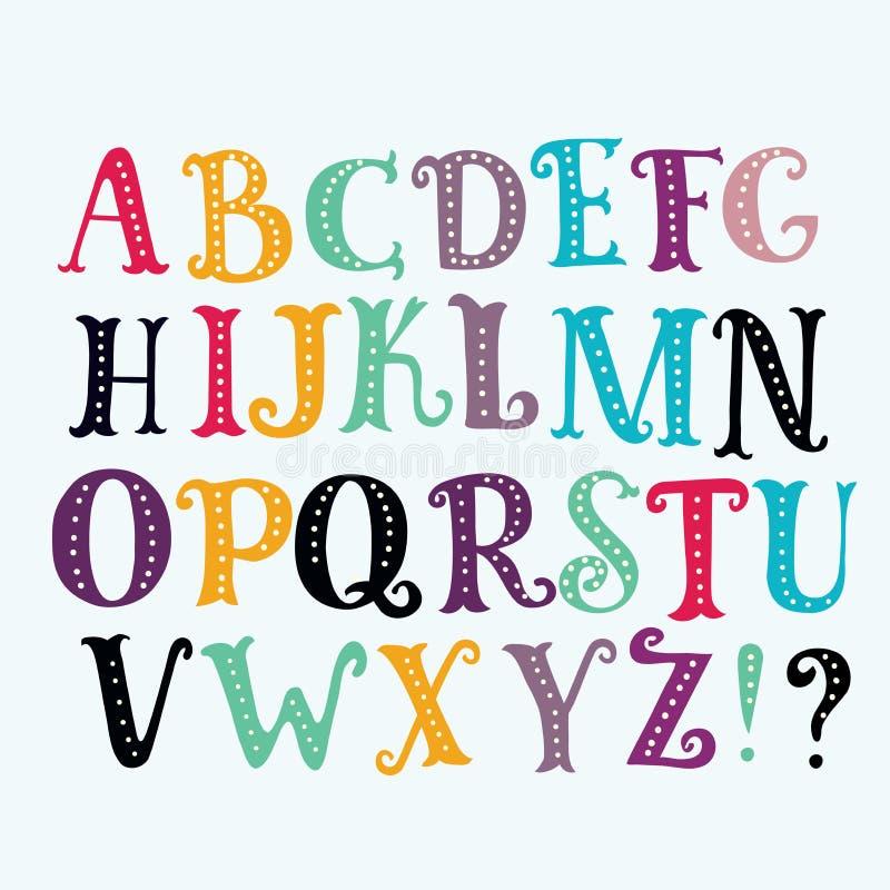 Ljus alfabetuppsättning i vektor vektor illustrationer
