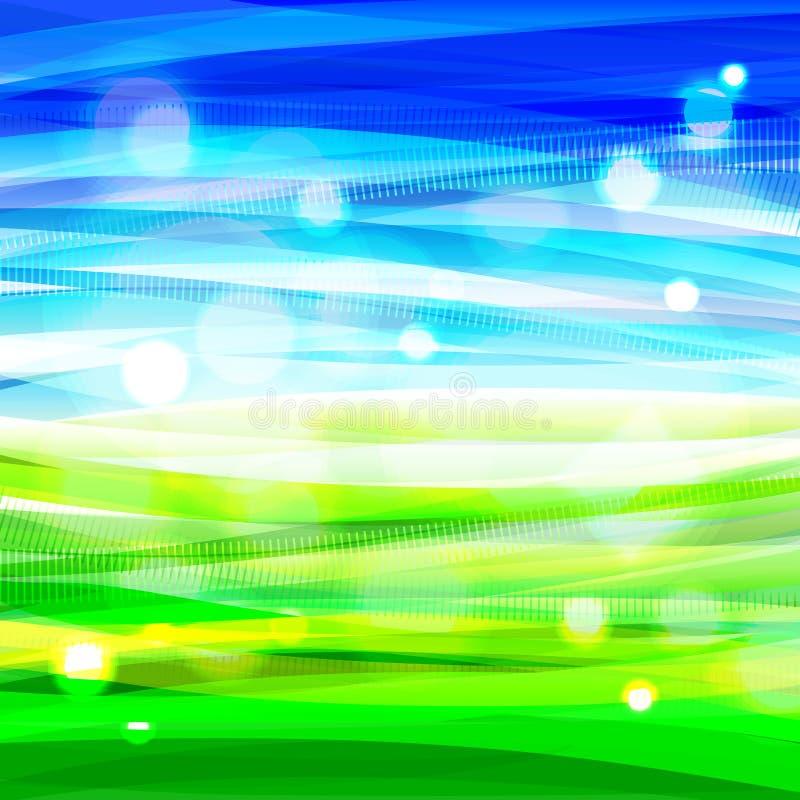 Ljus bacground med abstrakt himmel och gräs royaltyfri illustrationer