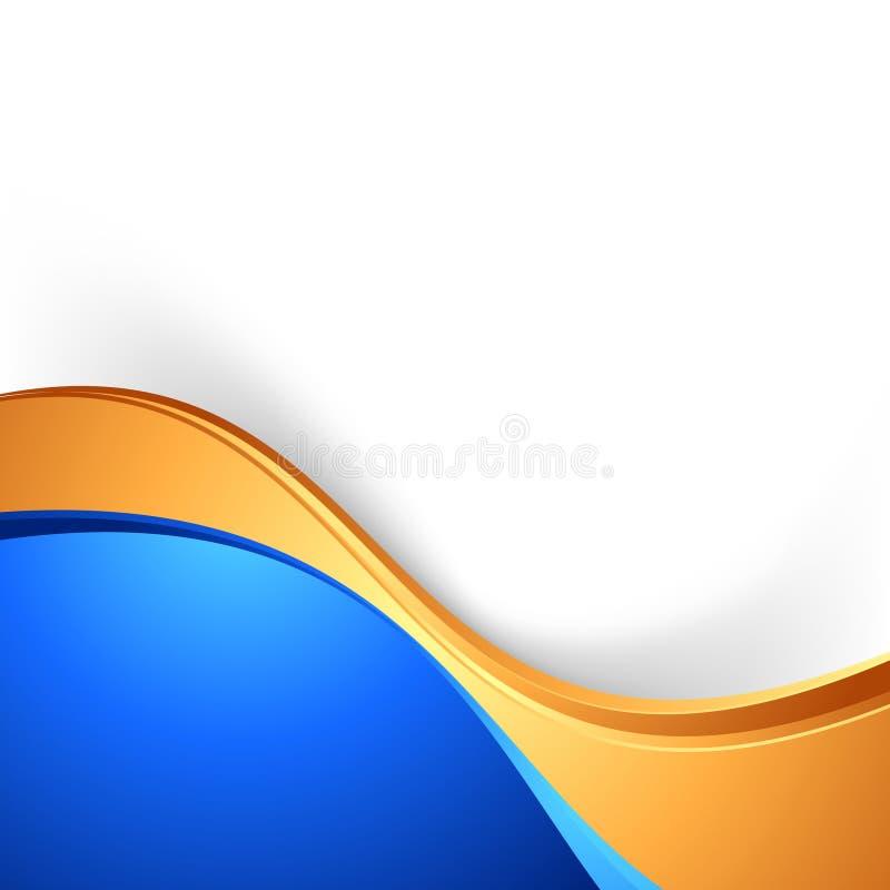 Ljus bakgrund för guld för blått för swooshgränsabstrakt begrepp vektor illustrationer