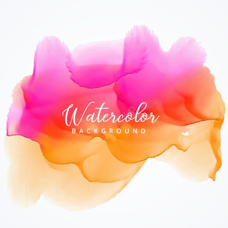 ljus bakgrund för rosa färg- och apelsinvattenfärgfläck planlägger vektor illustrationer
