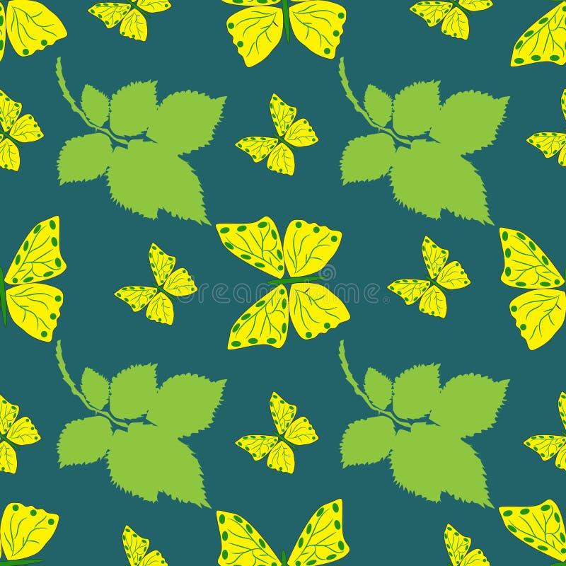 Ljus bakgrund med sidor och gula fjärilar stock illustrationer
